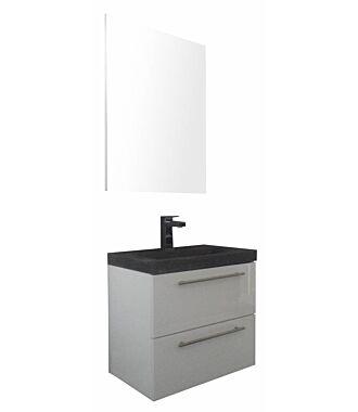 Badkamermeubel Trento Slim 60 cm Hoogglans Wit met Natuurstenen Wasbak