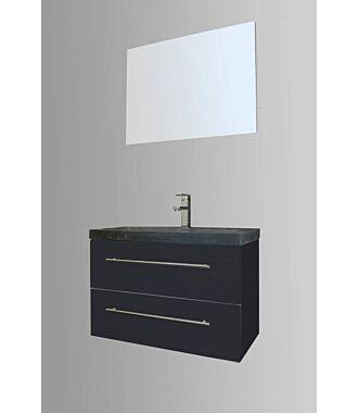 Badkamermeubel Trento Slim 80 cm Hoogglans Antraciet met Natuurstenen Wasbak