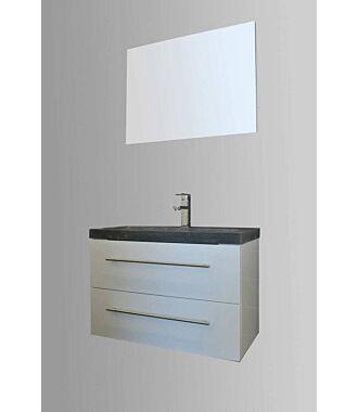 Badkamermeubel Trento Slim 80 cm Hoogglans Wit met Natuurstenen Wasbak