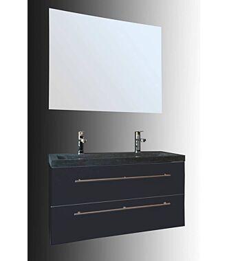 Badkamermeubel Trento Slim 100 cm Hoogglans Antraciet met Natuurstenen Wasbak
