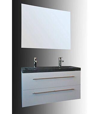 Badkamermeubel Trento Slim 100 cm Hoogglans Wit met Natuurstenen Wasbak