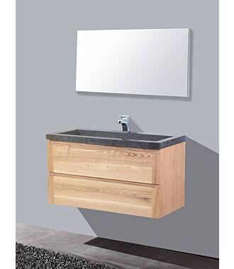 Badkamermeubel Nola Wood Eiken Natuursteen 100 cm