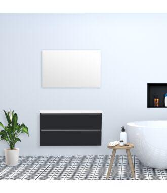Badkamermeubel Trento Greeploos met Flat Kunstmarmer Top 100 cm Hoogglans Antraciet