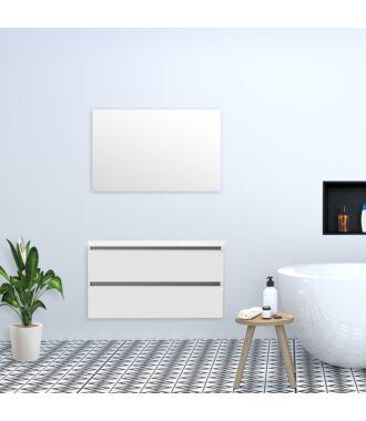 Badkamermeubel Trento Greeploos met Flat Kunstmarmer Top 100 cm Hoogglans Wit