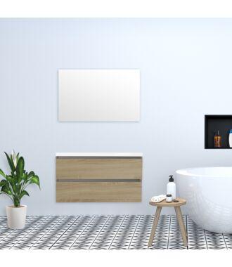 Badkamermeubel Trento Greeploos met Flat Kunstmarmer Top 100 cm Light Wood