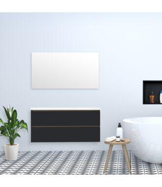 Badkamermeubel Trento Greeploos met Flat Kunstmarmer Top 120 cm Hoogglans Antraciet