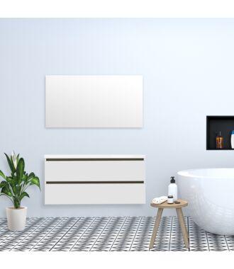 Badkamermeubel Trento Greeploos met Flat Kunstmarmer Top 120 cm Mat Wit