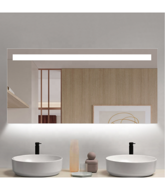 Badkamerspiegel LED met Boven en Onderverlichting 140x70 cm met Spiegelverwarming