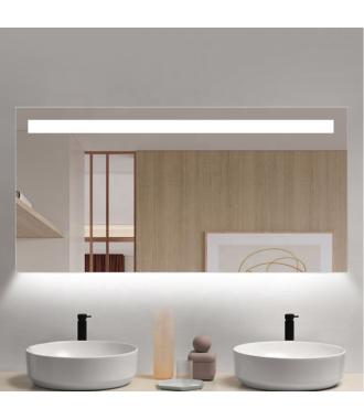 Badkamerspiegel LED met Boven en Onderverlichting 80x70 cm met Spiegelverwarming
