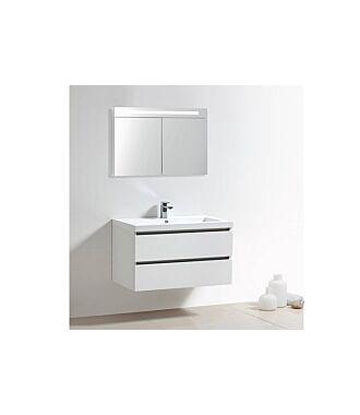 Badkamermeubel Trento Greeploos Mineraal 100 cm Hoogglans Wit met Spiegelkast