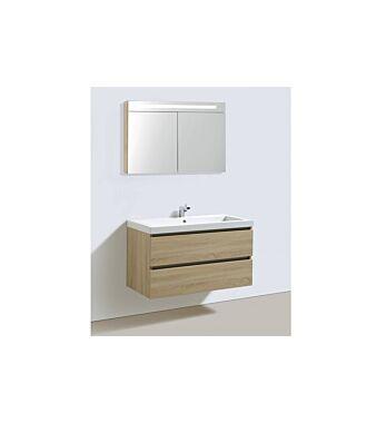 Badkamermeubel Trento Greeploos Mineraal 100 cm Light Wood met Spiegelkast