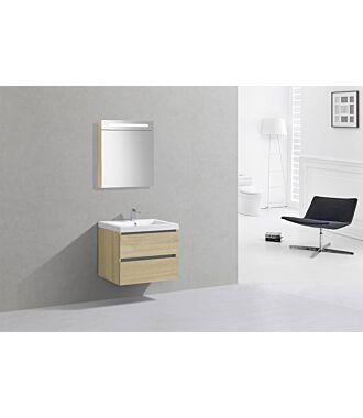 Badkamermeubel Trento Greeploos Mineraal 60 cm Light Wood met Spiegelkast