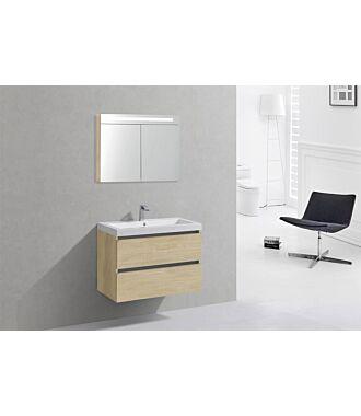 Badkamermeubel Trento Greeploos Mineraal 80 cm Light Wood met Spiegelkast