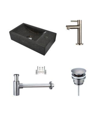 Fonteinset Hardstenen Recto Mini met Kraan, Afvoer en Sifon Gun Metal 36x18x10 cm