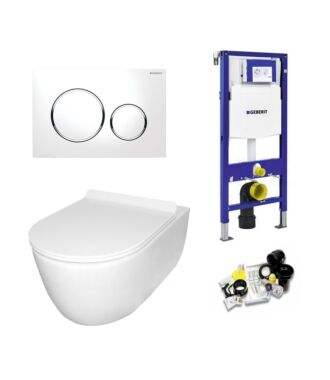 Geberit UP320 Toiletset Sani Royal Budget Rimfree Compact 48 cm Sigma 20 chroom/wit