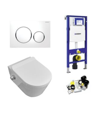 Geberit UP320 Toiletset Sani Royal Easy Flush Slim met Bidet Rimfree 55 cm Sigma 20 chroom/wit