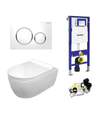 Geberit UP320 Toiletset Sani Royal Standaard Rimfree Flatline 55 cm Sigma 20 chroom/wit