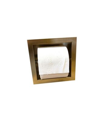 Inbouw WC Rolhouder RVS voor 1 Rol Geborsteld Goud 9 cm diep