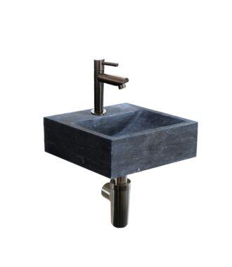 Natuursteen Fonteinset Sovana met Kraan, Afvoer en Sifon Gun Metal 30x30x10 cm