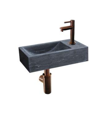 Natuursteen Fonteinset Rimini Mini met Kraan, Afvoer en Sifon Brons 36x18x10 cm