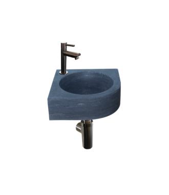 Natuursteen Fonteinset Rione met Kraan, Afvoer en Sifon Gun Metal 30x30x10 cm