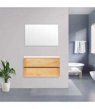 Badkamermeubel Nola Wood Eiken met Flat Kunstmarmer Top 100 cm