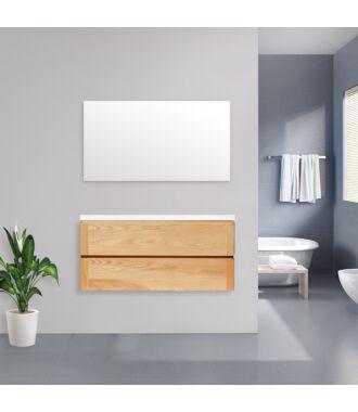Badkamermeubel Nola Wood Eiken met Flat Kunstmarmer Top 120 cm