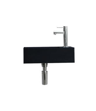 Quartz Zwart Fonteinset Mini met Kraan, Afvoer en Sifon 36x18x10 cm Chroom