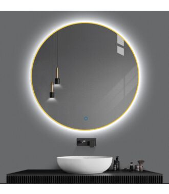 Badkamerspiegel Rond LED Goud 100 cm met Spiegelverwarming