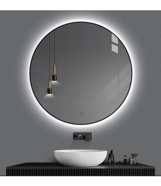 Badkamerspiegel Rond LED Mat Zwart 80 cm met Spiegelverwarming