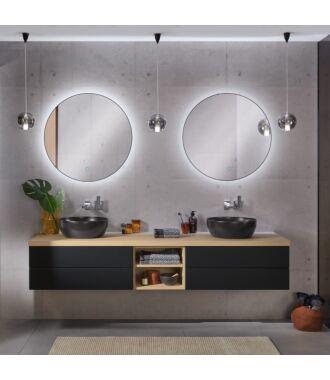 Ronde Badkamerspiegel Mat Zwart met LED Verlichting met Touch en Dimbaar in 3 Standen 100 cm met Spiegelverwarming