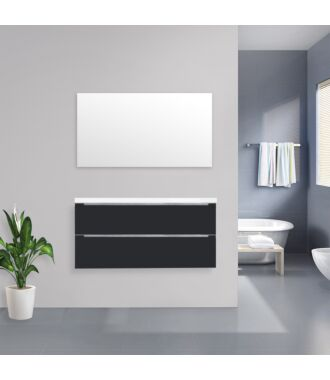 Badkamermeubel Sensio Flat Kunstmarmer Top 120 cm Hoogglans Antraciet