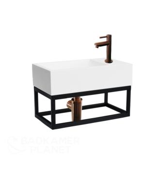 Fontein Frame Mat Zwart Solid Surface Brons 40x22x10 cm