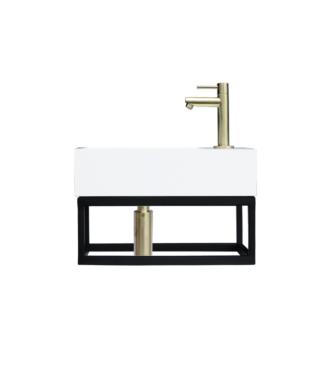 Fontein Frame Mat Zwart Solid Surface Goud 40x22x10 cm