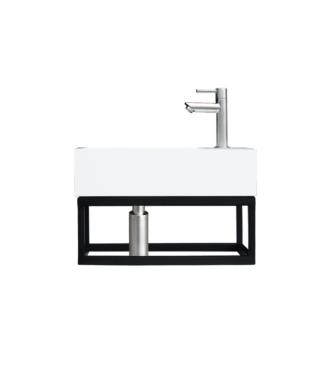 Fontein Frame Mat Zwart Solid Surface RVS 40x22x10 cm