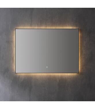 Spiegel Infinity Indirect LED verlichting met zwarte omlijsting 100 cm met Spiegelverwarming