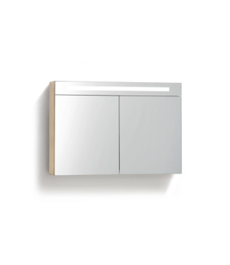 Spiegelkast 100 cm met TL Verlichting Light Wood
