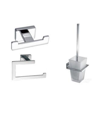 Toilet Accessoire Set Vierkant Chroom