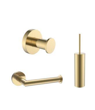Toilet Accessoires Set Goud Geborsteld incl Toiletborstel, Wc rolhouder en Haak