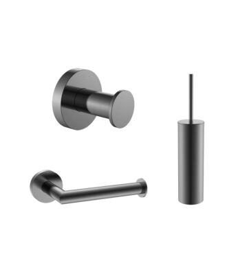 Toilet Accessoires Set Gun Metal Geborsteld incl Toiletborstel, Wc rolhouder en Haak