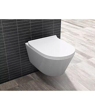 Sani Royal Hangend Toilet Easy Flush Slim Rimfree 55 cm Easy Flush met Platte Softclose Zitting
