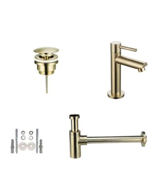 Toiletkraan set met afvoer en design sifon geborsteld goud