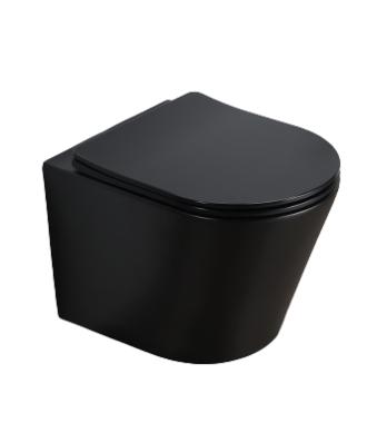 Sani Royal Hangend Toilet Compact Rimfree Mat Zwart 48 cm Easy Flush met Softclose Zitting