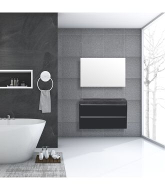 Badkamermeubel Trento Greeploos Natuursteen 100 cm Hoogglans Antraciet