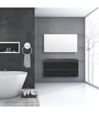 Badkamermeubel Trento Greeploos Natuursteen 120 cm Hoogglans Antraciet met 4 Lades