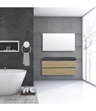 Badkamermeubel Trento Greeploos Natuursteen 120 cm Light Wood
