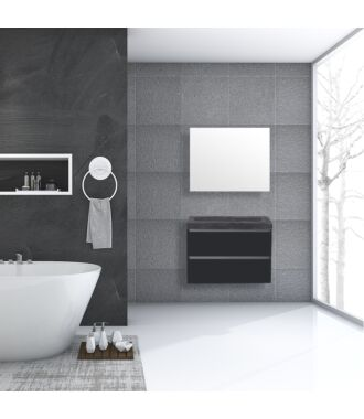 Badkamermeubel Trento Greeploos Natuursteen 80 cm Hoogglans Antraciet