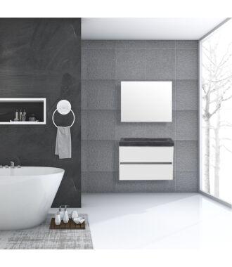 Badkamermeubel Trento Greeploos Natuursteen 80 cm Hoogglans Wit