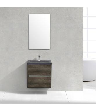Badkamermeubel Trento Slim Greeploos 60 cm Century Oak met Natuurstenen Wasbak
