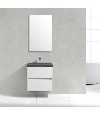 Badkamermeubel Trento Slim Greeploos 60 cm Hoogglans Wit met Natuurstenen Wasbak